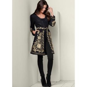 Venus Belted Gold Embroidered Warm Winter Coat